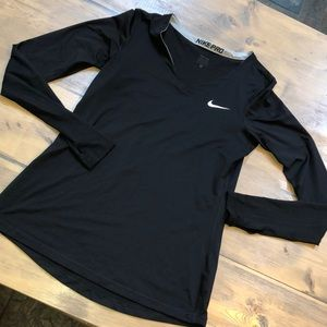 Nike pro long sleeve V neck shirt